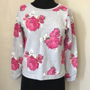 LOFT Petites Floral Crew Neck Sweater